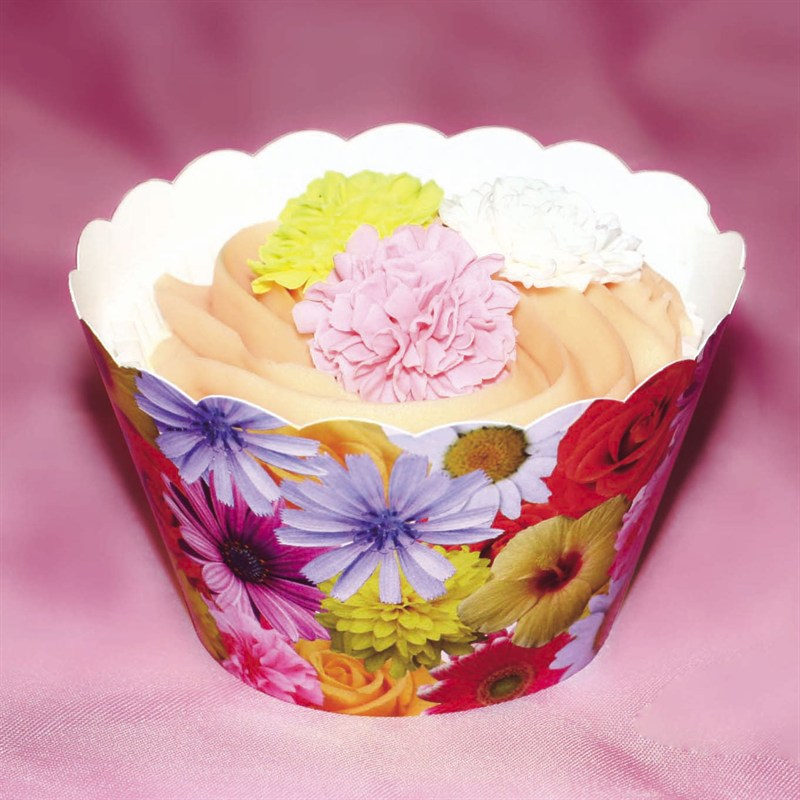 Image of Cupcake wrappers, blomster