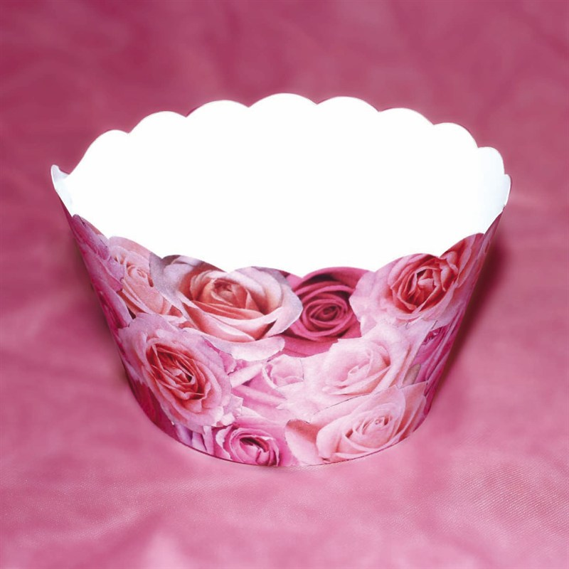 Image of Cupcake wrappers, pink roser